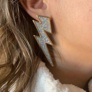 Jewelry - Silver Glitter Lightning Bolt Earrings